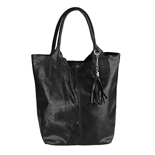 Handbag in Made da Donna 39x36x20 Nero Pelle Borsa Cm Vera Mano Borse Chicca a Italy Shopper in 5KPS4wSRq