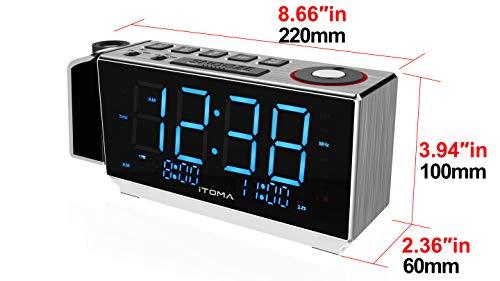 Reloj Despertador de proyección iTOMA, Radio Reloj Despertador FM con Alarma Dual, Carga USB, Radio FM Digital, luz Nocturna, indicador LED Azul de ...