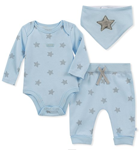absorba Baby Boys 2 Pieces Creeper Pants Set, Powder Blue 0-3 Months