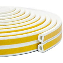 Indoor Weather Stripping,Window Seal Strip For Doors And Windows Soundproofing Weatherstrip Gap Blocker Epdm D Type 16Ft(5M)White