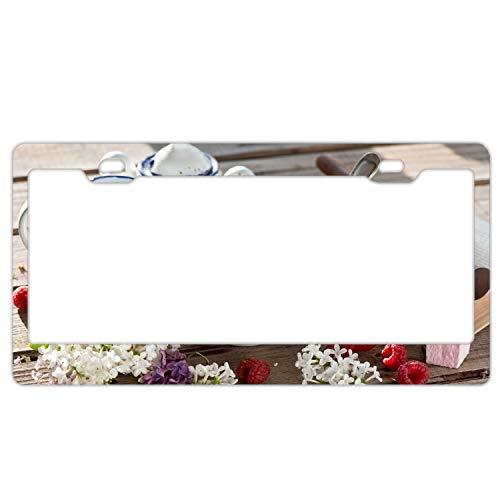 KSLIDS License Plate Breakfast Lilac Yogurt Marshmallow Raspberry License Plate Holder Durable Car Tag 12