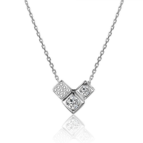 - Silver-Tone 925 Sterling Silver Triangular Cubic Inlaid with Large and Small Zircon Pattern Top Grade Arrow Heart Zircon Inlay Pendant Necklace 16