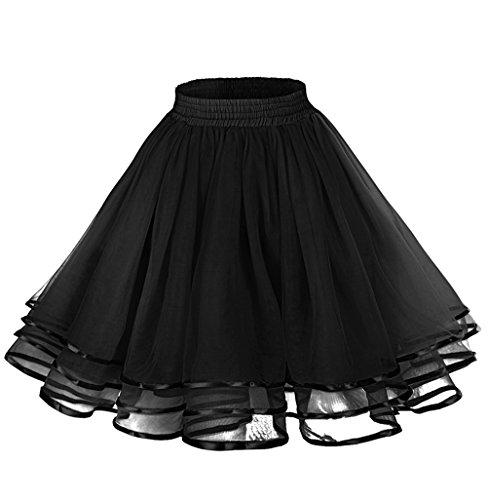 LaceLady Women's Vintage Petticoat Tutu Underskirt Crinoline Dance Slip with Belt Black -