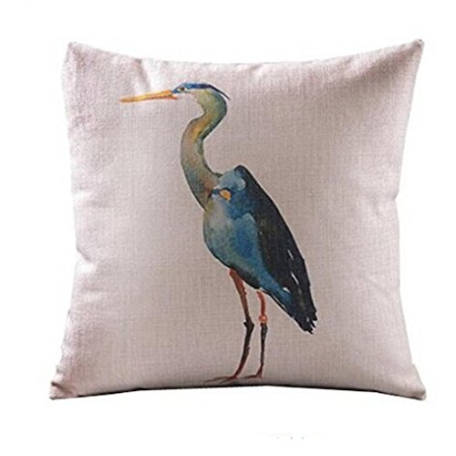Cranes Cover - Pillow Case, NXDA Animal Pattern Flax Blend Throw Pillows Cover Decorative, 18x18 Inches (Cranes)