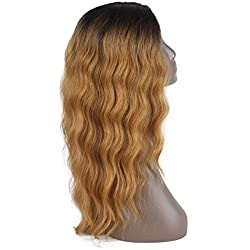 "X-TRESS 22""Synthetic Lace Front Wigs Two tones Ombre Blond Long Wavy Body Wave Glueless High Temperature Fiber Deep Invisible L Middle Part Lace Wigs For Black Women Christmas Custom Gift"