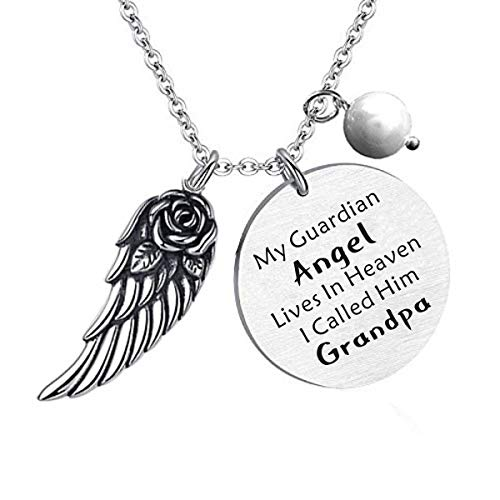 Grandpa Memorial Jewelry My Guardian Angel Lives in Heaven I Call Him  Grandpa Grandfather Memorial Gift In Memory of Grandpa Stainless Steel  Necklace ...