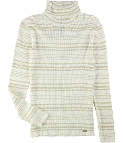 - Tommy Hilfiger Womens Metallic Stripe Pullover Sweater Off-White S