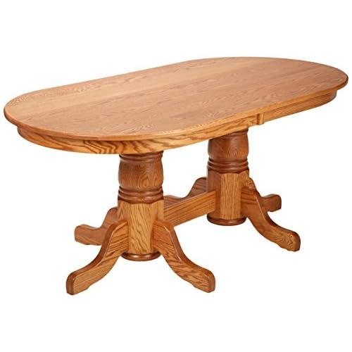 "Dooleys EN7236DBD-3 Solid Oak Double Pedestal Oval Dining Table, 72"" Length x 36"" Width x 30"" Height, Early American Finish"