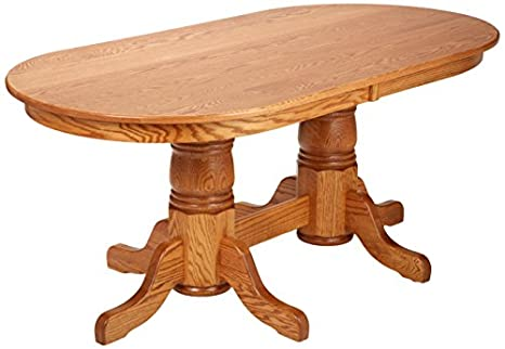 Dooleyu0027s EN7236DBD 3 Solid Oak Double Pedestal Oval Dining Table, 72u0026quot;  Length X