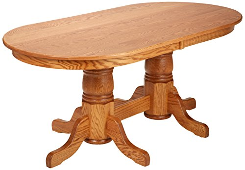 Dooley's EN7236DBD-3 Solid Oak Double Pedestal Oval Dining Table, 72' Length x 36' Width x 30' Height, Early American Finish