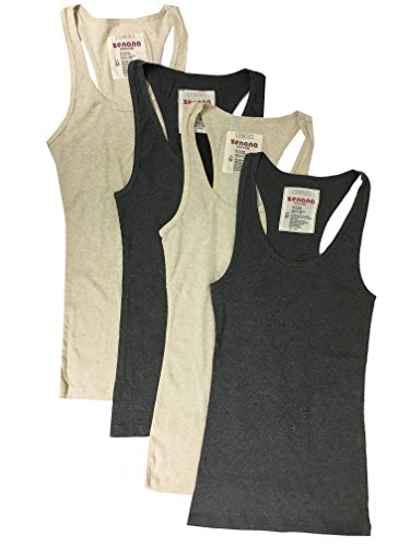 - Zenana Outfitters 4 Pack Womens Basic Ribbed Racerback Tank Top (Large, Charcoal, Charcoal, Heather Beige, Heather Beige)