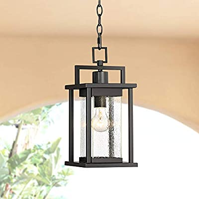 "Wickham Modern Outdoor Ceiling Light Hanging Lantern Painted Dark Gray 15"" Spotted Clear Glass for Exterior Porch Patio - John Timberland"