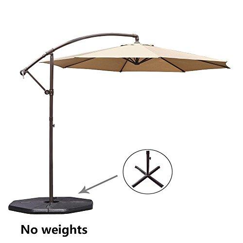 Le Papillon 10-ft Offset Hanging Patio Umbrella Aluminum Outdoor Cantilever Umbrella Crank Lift, Beige [New Generation Production]