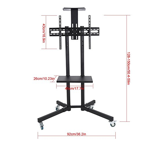 Wal front TV Mount,Mobile TV Cart Adjustable Stand Mount for 32-65 Inch LCD/LED Flat Panel Screen with Wheels (1203911) by Wal front (Image #2)