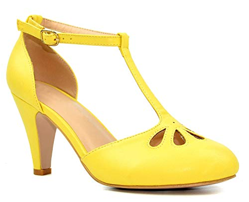 Chase & Chloe Kimmy-36 Women's Teardrop Cut Out T-Strap Mid Heel Dress Pumps (10, Yellow PU)