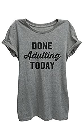 Thread Tank Done Adulting Today Women Relaxed T-Shirt Tee Heather Grey Small