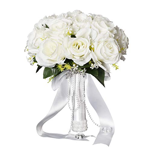 Artiflr Artificial Flowers Rose Bouquet, Fake Flowers Silk Artificial White Roses 18 Heads Bridal Wedding Bouquet for Home Garden Party (Silk Rose Bridal Bouquet)