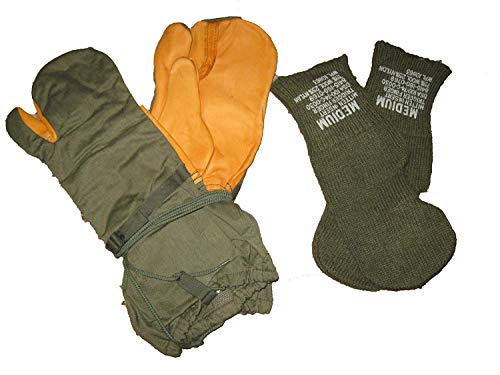Trigger Finger Mitten Gloves w/Wool Liners - Olive drab - Military Surplus (Medium)