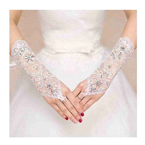 Olbye Women' Wedding Lace Gloves Bridal Fingerless Tulle Gloves Crystal Sequins Wrist Cuffs White Hook Finger Gloves (Without -