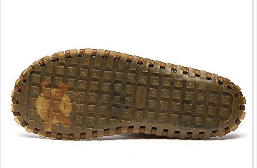 Xing Lin Sandalias De Hombre Fresco Verano Zapatillas De Cuero De Vaca Hombres Sandalias Calzado De Playa Flip Pies Sandalias Flip-Flops Tendón De Deslizamiento Inferior Khaki