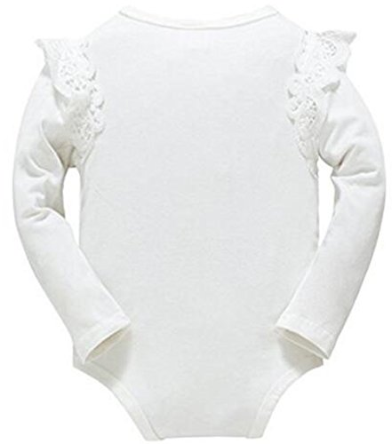 Younger star Baby Girls Boys Long Sleeve Onesies Bodysuit Baby Romper (White, 18-24Months)