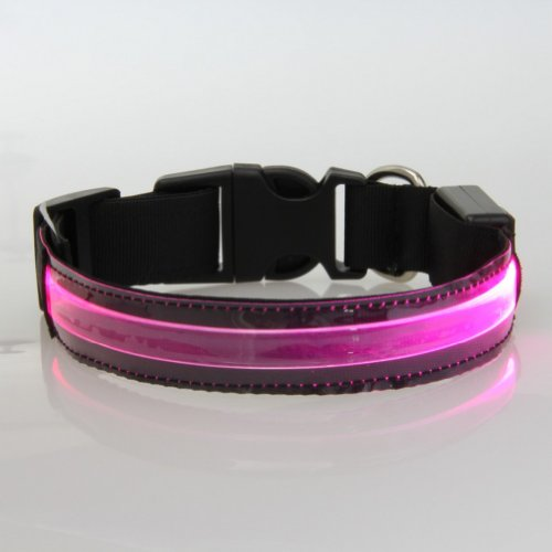 Eliteshine Fashionable Flashing Nylon LED Light Pet Dog Safety Collar (TM-XQ, Pink, - Spectacles Promotion
