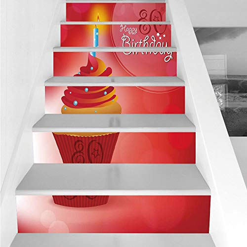 Stair Stickers Wall Stickers,6 PCS Self-adhesive,80th Birthday Decorations,Birthday Party Cupcake with Candle and Sunbeams Image,Orange Red and White,Stair Riser Decal for Living Room, Hall, Kids Room for $<!--$26.66-->