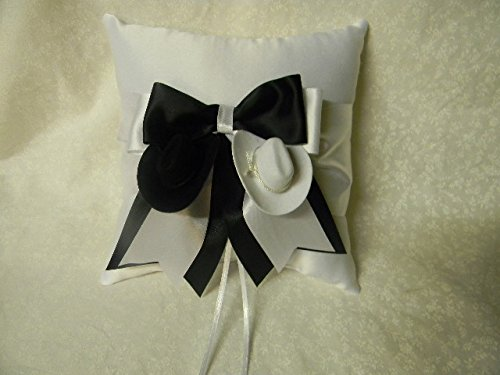Wedding ceremony Party Ring bearer Pillow western black white cowboy hats