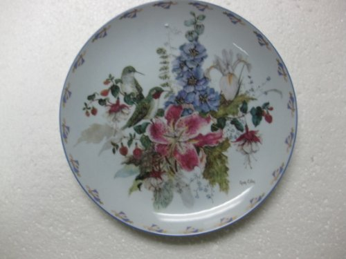 """W.S. George Fine China-Sitting Pretty by Cyndy Callog-2nd Issue In The Floral Fancies Collection. 8"""" Diameter"""