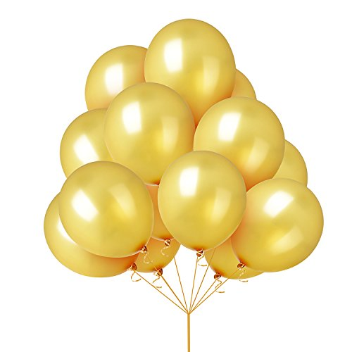 Yellow Assorted Balloon - Graduation Party Supplies 2018,Takefuns Assorted Bright Color Yellow Gold Latex Balloons Thickened for Birthday Wedding Party Decoration 12 inch 100 Pcs(Yellow Gold)