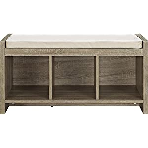 Ameriwood Home Penelope Entryway Storage Bench with Cushion, Weathered Oak