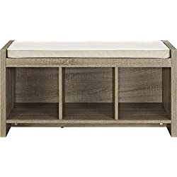 Ameriwood Home Penelope Entryway Storage Bench with Cushion, Distressed Gray Oak