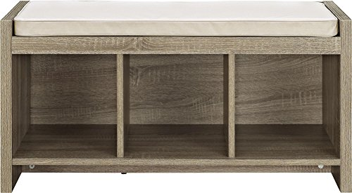 Ameriwood Home Penelope Entryway Storage Bench with Cushion, Weathered Oak by Altra Furniture