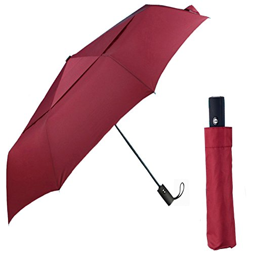 CNHY Travel Umbrella Folding Large Automatic Golf Umbrellas Windproof 57 inch Double Crown Cover Compact Easy Touch with Auto Open Close Sturdy and Portable (red)