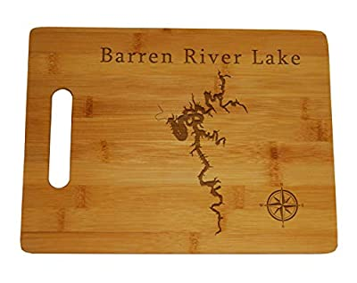 Barren River Lake Map Engraved Bamboo Cutting Board 9x12 inches Kentucky
