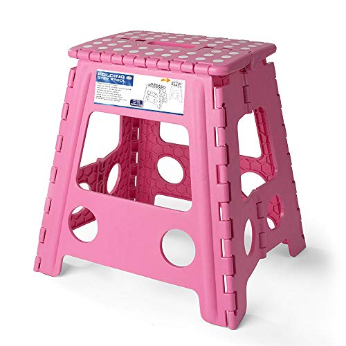 Acko 16 Inches Super Strong Folding Step Stool for Adults and Kids, Kitchen Stepping Stools, Garden Step Stool Pink