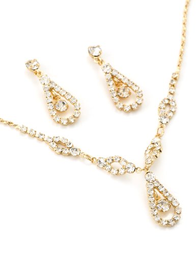 Topwholesalejewel Gold Teardrop Shape Line with Crystal Rhinestone Fill Bridal Wedding Party Necklace and Matching Dangle Earrings Jewelry Set