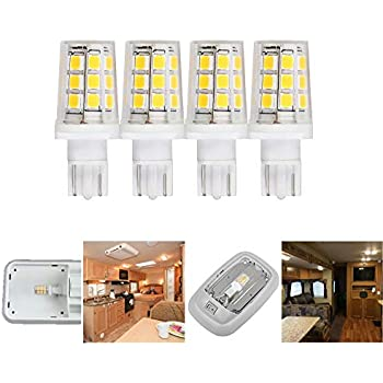 921 912 W16W T5 T10 Wedge 3W 380lm 12 Volt 35-40W Equivalent LED Light Bulb Replacement for RV Camper Motorhome Trailer Boat Marine Yacht Interior Light Bulbs Warmwhite 3000K Clear Cover 4-Pack