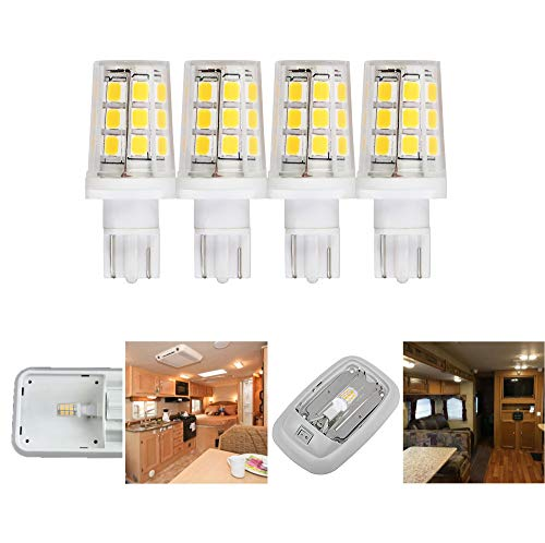 12 volt led replacement bulb for 921 912 W16W T10 camper RV motorhome trailer Boat Marine Yacht 5th wheel interior dome led light bulbs 3W 350lm 35-40W equivalent Cool white 6000K Pack of 4
