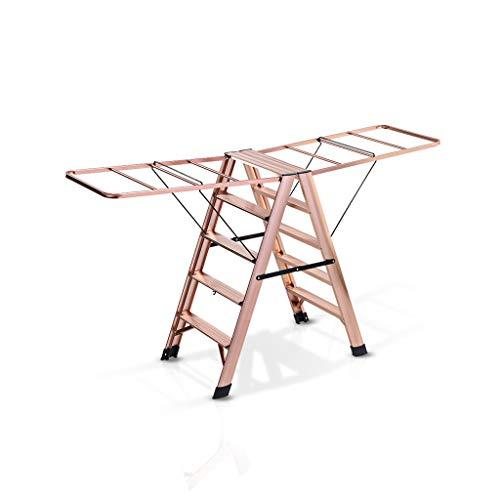BEAUTY Aluminum Alloy Step Stool Household Multifunction Fold Airfoil Ladder Drying Rack Landing Balcony,5 Steps