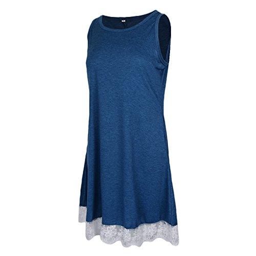 Abierta Casual Encaje DOLITY D 50s Azul Vestido Cóctel Playa Pleno Vintage Flojo Midi V Encaje Zwapx