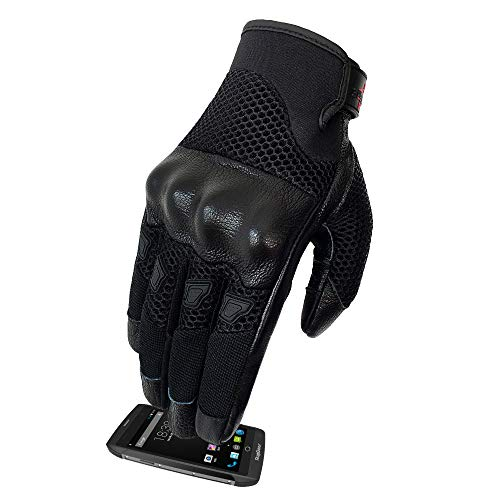 Men's Motorcycle Gloves Breathable And Lightweight Leather Street Bike Gloves Knuckle Armored (G17-Men's Mesh Fabric,S)
