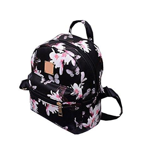 Floral Print Backpack - Women Girls Mini Backpack Causal Floral Printing Leather Bag (Black)