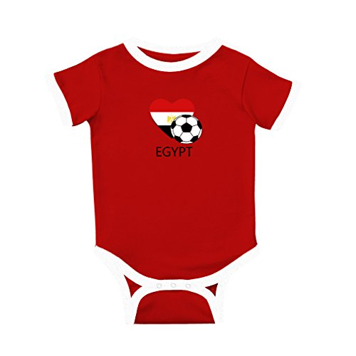 Cute Rascals Love Soccer Heart Egypt Style 2 Cotton Short Sleeve Crewneck Unisex Baby Soccer Bodysuit Sports Jersey - Red, 12 Months Pro Style Football Jersey
