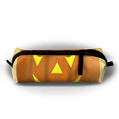 KutLong Halloween Pumpkin Smiley Face Student Pencil Pen Case Zipper Pouch Small Cosmetic Makeup Bag Coin Purse?for Kids Teens and Other School Supplies -