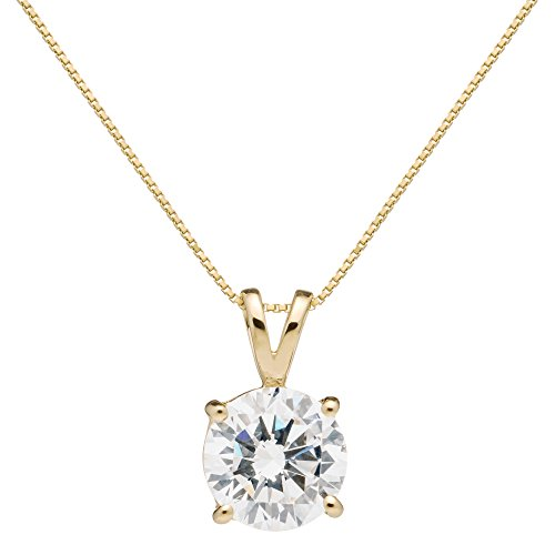 14K Solid Yellow Gold Pendant Necklace | Round Cut Cubic Zirconia Solitaire | 2.0 Carat | 16 Inch .60mm Box Link Chain | With Gift Box ()