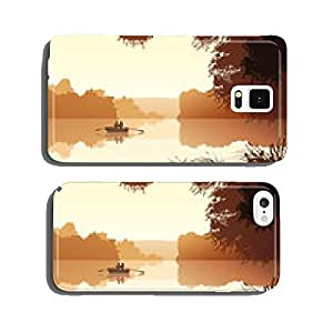 Vector couple on lake against orange sunset. cell phone cover case Samsung S6