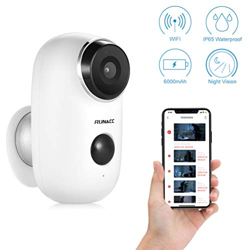 RUNACC Rechargeable Battery Powered Indoor/Outdoor Wireless Security Camera/Surveillance Camera System Home/Office/Baby/Pet Monitor, IP 65 Waterpoof, Two-Way Audio, 720P HD and Night Vision