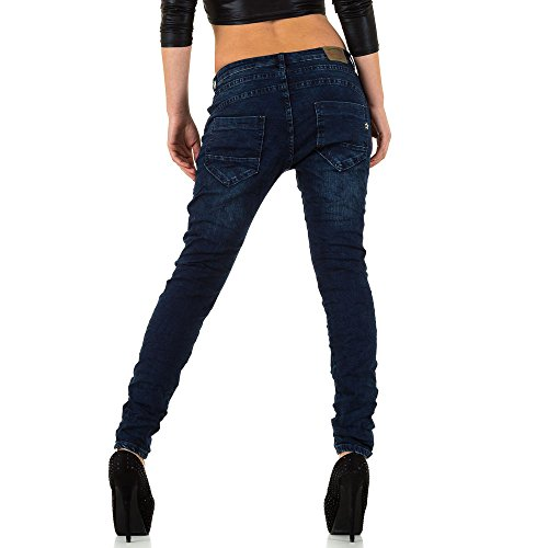 Bestickte Boyfriend Jeans Für Damen , Dunkelblau In Gr. 40 bei Ital-Design