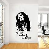 Bob Marley Wall Art,Iconic,Classic,Reggae,Vinyl Decal Sticker,WD004 - 19.25in 49cm (W) X 35.5in 90cm (H) - Medium - Black
